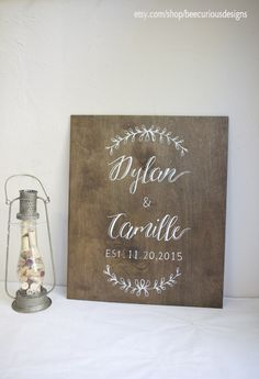 "20x24"" Dark stained plywood sign.  Engagement Party. Wedding Welcome. Home Decor.  Anniversary"