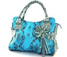 Snake Skin Flower Handbag--love