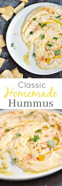 This Classic Homemade Hummus is so good, you won't ever need to buy store-bought again! It's thick and creamy, and really simple to make   cookingwithcurls.com