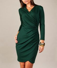 Look what I found on #zulily! Green Surplice Wrap Dress #zulilyfinds