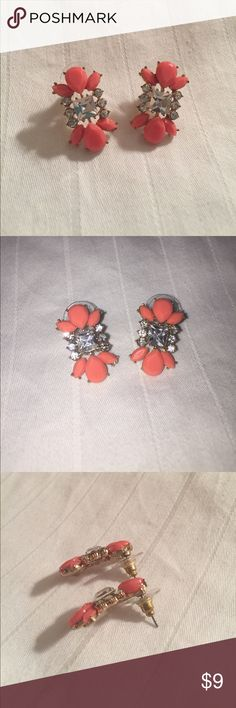 Statement stud earrings Statement stud costume jewelry earrings; coral, gold, and rhinestone earrings. Hardly worn. Been in jewelry box. One slightly bent post at purchase. Unknown material. Make an offer! Jewelry Earrings