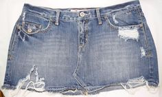 Hollister #MiniSkirt Size 9 Juniors #Destroyed #Distressed Blue #Denim 100% #Cotton #Hollister #Mini