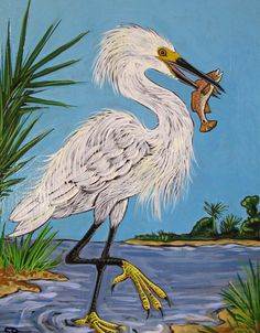 Snowy Egret With Redfish Acrylic On Wood Painting By FishPondArts Etsy