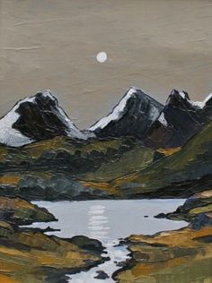 View all David BARNES art, paintings and contemporary British art at the Red Rag art gallery Landscape Art, Landscape Paintings, Painting Inspiration, Art Inspo, Moonlight Painting, Ink In Water, Snowdonia, Naive Art, Pastel Art