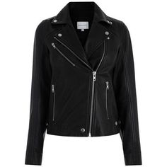 Leather Biker Jacket (804.725 COP) ❤ liked on Polyvore featuring outerwear, jackets, leather biker jacket, rider jacket, moto jackets, motorcycle jacket and rider leather jacket