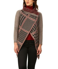 Look what I found on #zulily! Brown & Red Houndstooth Contrast Wrap Cardigan #zulilyfinds