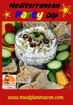 Mediterranean Party Dip l Meal Planning Maven's Blog l With its cheerful brightly colored veggies, this chunky spread would make a fun New Year's party nibble or a healthy addition to your family's lunch boxes along with fresh veggies and pita chips!