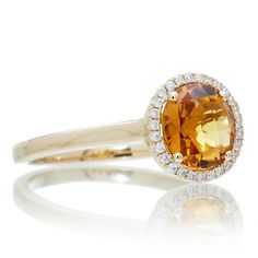 18 Karat Yellow Gold 7.5 mm Round Citrine Diamond Halo by SAMnSUE