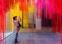 Berlin-based architect Diébédo Francis Kéré has created a rainbow-coloured installation made of hundreds of strands of lightweight cord