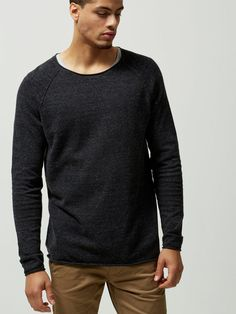 CREW NECK - KNITTED PULLOVER, Antracit, large