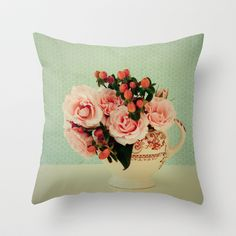 Little Pink Roses Throw Pillow by Olivia Joy StClaire - $20.00
