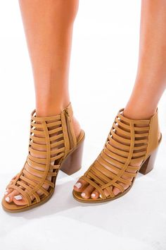 4e307ee9583 Super cute tan faux leather strappy caged heels with open toe