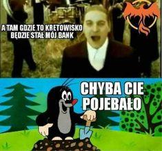 A tu gdzie to kretowisko będzie stał mój bank Funny Photos, Funny Images, Memes Humor, Jokes, Funny Lyrics, Polish Memes, Weekend Humor, Funny Mems, Text Memes