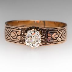 OLD MINE CUT DIAMOND VICTORIAN ERA RING 18K, IDEAL SEATTLE ENGAGEMENT STYLE