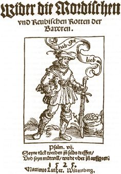 LUTHERAN TRACT, Title page of Martin Luther's tract 'Against the Murdering and Thieving Horde of Peasants', Luther, Feudal System, Rotten, Rainy City, Thirty Years' War, Landsknecht, Title Page, European History, Wood Engraving
