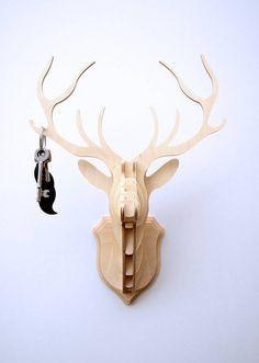 Wooden Stag Head Trophy Key Hanger