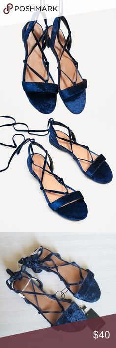 Zara Velvet Lace Up Gladiator Sandals Festival New with Tags ZARA boho chic navy blue velvet lace up sandals. Size 36 (US 6). Fits true to size. Adjustable lace up detail. Beautiful sandals that can be dressed up or down!   New with Tags. No shoe box. Light scratches on insole from store wear.   No Trades. Reasonable Offers Welcome. Zara Shoes Sandals
