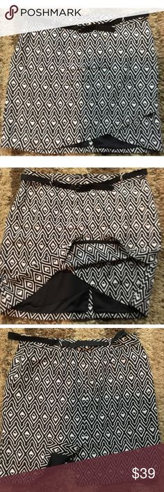 "🆕GORGEOUS WHITE & BLACK ASYMMETRICAL SILK SKIRT New with tags!  Size 14 patterned skirt.  Asymmetrical hem in front.  Belt.    Waist 18"" Length 21"" Longest part of hem Length 18"" Shortest part of hem  Shell is 100% silk.  Lining is 100% Polyester.  Boutique item prices are firm unless bundled.  Please comment with any questions and feel free to make an offer with the blue button! ⭐️ Purchase by noon EST and item(s) ship the same day!  Bundle items and save, just click the three dots in…"