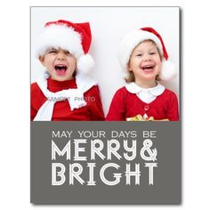 MERRY AND BRIGHT HOLIDAY PHOTO POSTCARD GREY