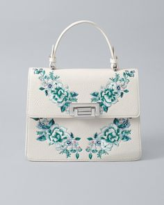 Womens Embroidered Handbag by White House Black Market - Sale! Shop at Stylizio for womens and mens designer handbags luxury sunglasses watches jewelry purses wallets clothes underwear Latest Handbags, Chloe Handbags, Fashion Handbags, Purses And Handbags, Fashion Bags, Fashion Fashion, Runway Fashion, Fashion Trends, Cute Mini Backpacks