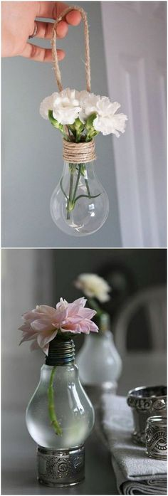 Que tal transformar as suas lâmpadas velhas em vasinhos? Olha só que charme! #decoração #design #madeiramadeira