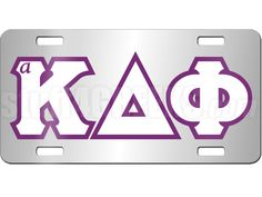 ALPHA KAPPA DELTA PHI LICENSE PLATE WITH PURPLE AND WHITE LETTERS ON SILVER BACKGROUND  Item Id: PRE-LP-AKDF-LTR    Retail Price: $29.00  You Save: $5.00  Price: $29.00  Your Price: $24.00