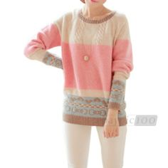 Details about Women Pullover Jumper Knitwear Sweater Top Outerwear Round Neck Long Sleeve M $7.89
