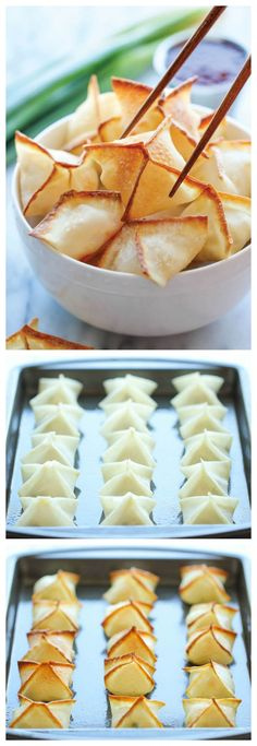 Baked Cream Cheese Wontons - No one would ever believe that these crisp, creamy wontons are actually baked, not fried! And they're so easy to make!
