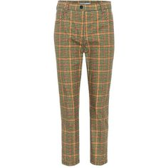Prada Checked Cropped Trousers (13.573.205 IDR) ❤ liked on Polyvore featuring pants, capris, trousers, multicoloured, brown crop pants, multi color pants, brown trousers, brown pants and checkered pants