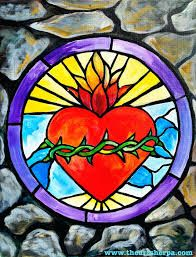 Image result for sacred heart stained glass