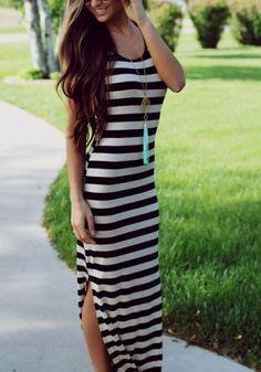 Black Striped Side Slit Round Neck Maxi Dress