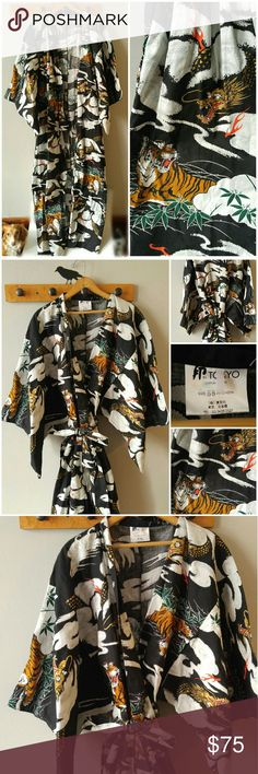 "Japanese Kimono Tiger and Dragon print cotton robe This incredible ankle length kimono is printed all over with flames, tigers, and dragons. The colors are orange, red, gold, green, black and white. 100% midweight cotton with a crisp soft feel. Marked size 58"" but is a loose, forgiving fit so one size will fit most! Made in Japan. Includes self printed fabric belt. This kimono is in like new condition, slightly wrinkled from storage. From a smoke free home :) Offers are welcome…"