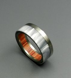wedding rings - marbled opalescent, wood and titanium