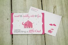 Pink Elephant Baby Shower Envelope & Invite Designed & Printed by AlphaGraphics Sugar Land