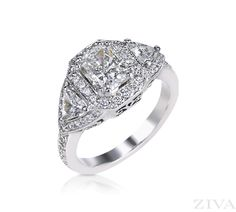 Vintage Ring for Radiant Cut Diamond with Triangle & Pave