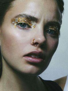 .gold foil eyes