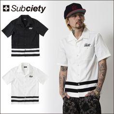 SUBCIETY サブサエティ 半袖シャツ ENGINEER SHIRT S/S-NX- ライン半袖シャツ ワークシャツ