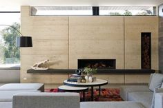 An old farm property was turned into a rammed earth weekend retreat by Robson Rak Architects, in Merricks North, outside of Melbourne, Australia. Rammed Earth Homes, Rammed Earth Wall, Home Design, Design Ideas, Amazing Spaces, Australian Homes, Contemporary Interior, Contemporary Fireplaces, Contemporary Windows