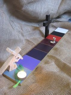 A visual to teach kids about Jesus' journey from Palm Sunday to His Resurrection- Totally doing this next year!