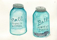 Salt & Pepper Aqua Blue Canning Jars watercolor painting, Original ART,  5 x 7, Culinary, kitchen, dining art on Etsy, $25.00