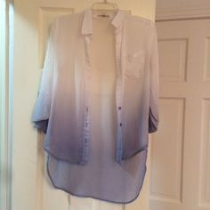Ombré See-through Chiffon Long Sleeve Button Down Chiffon, easy to see through, rolled up sleeves, good condition, no snags Altar'd State Tops Button Down Shirts