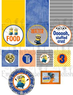 PRINTABLE DIGITAL FILE  Despicable Me Party Printables via Etsy