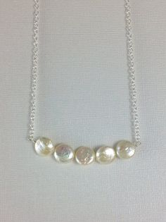 Freshwater pearl necklace. Long thin silver chain. Grade A fresh water pearl coin jewelry on Etsy.