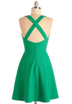 Shared Laughter Dress in Green. Whether date night means donning this flared green dress to take on the evening with your bestie or your sweetie, youre bound to have a blast. #green #modcloth