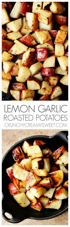 Lemon Garlic Roasted Potatoes - super easy side dish yet packed with so much flavor! The lemon garlic combo makes these potatoes irresistible!