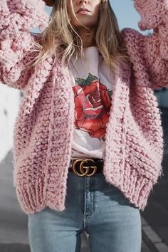 Women Pink Knitted Puff Long Sleeve Casual Cardigan - One Size Source by camilaniego outfit Cardigan Verde, Knit Cardigan Outfit, Cardigan Style, Cardigan Rose, Kimono Cardigan, Pink Cardigan Outfits, Cardigan Sweaters, Winter Cardigan, Cardigan Pattern