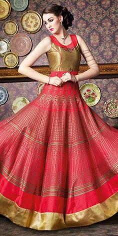 Scintillating Pink Silk Anarkali Suit With Dupatta.