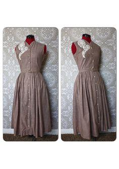 Vintage 1950's Jo Dee Beige Cotton Dress Small by pursuingandie, $75.00