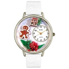 Christmas Gingerbread White Leather And Silvertone Watch #U1220004 - http://www.artistic-watches.com/2013/02/28/christmas-gingerbread-white-leather-and-silvertone-watch-u1220004-2/