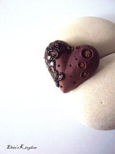 Ombre Nude Polymer Clay Valentine's Pendant by EleinsKingdom, $25.00
